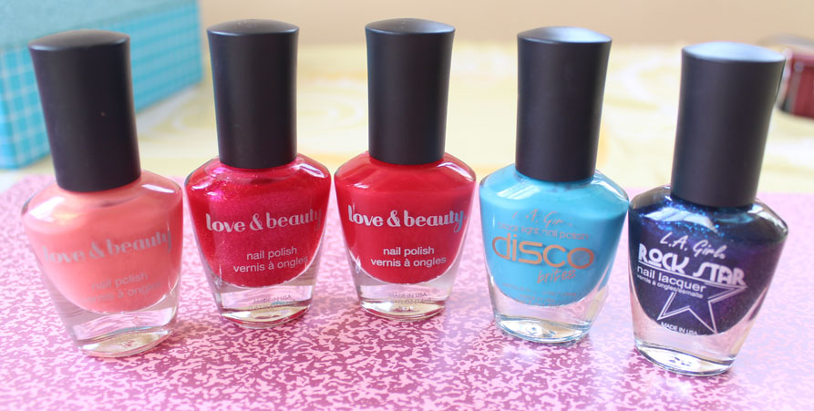 Forever 21 love & beauty nail polish in 5 different colors