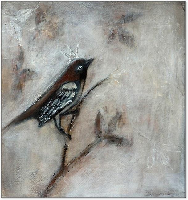 bird art painting mixed media Zorana