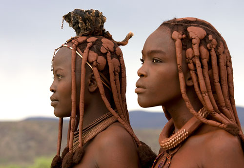 Africa: Himba women and Baobab trees