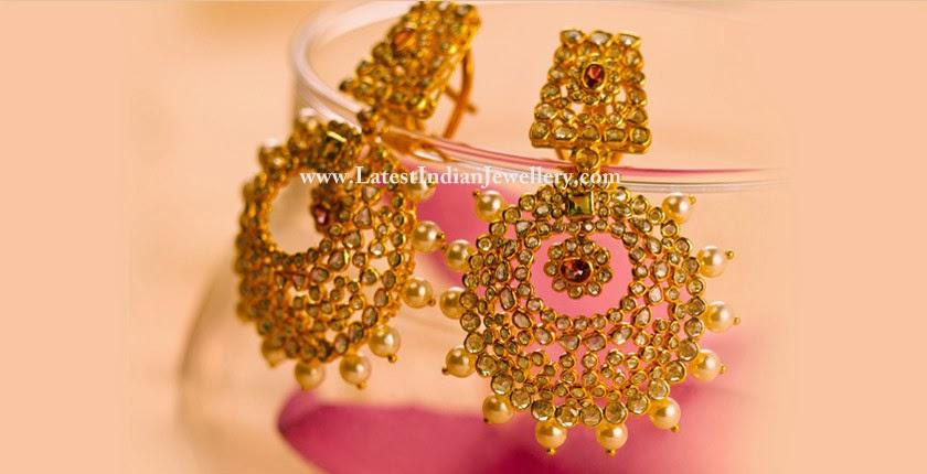 Rose Cut Diamonds Chandbali Earrings