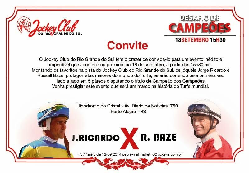 CONVITE # ASSISTA AO VIVO - JORGE RICARDO X RUSSEL BAZE # DESAFIO DE CAMPEÕES