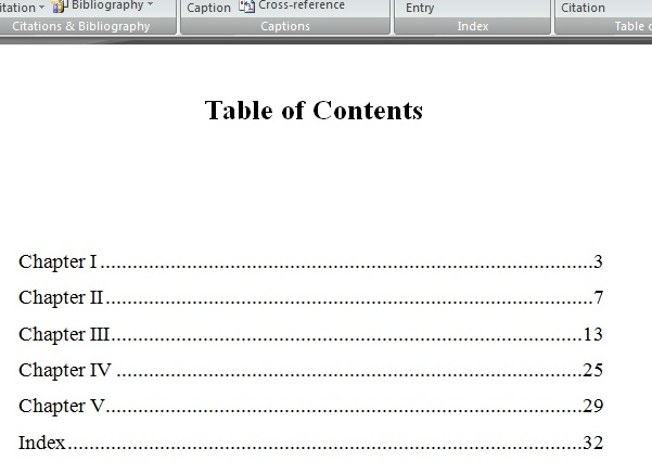 how to write table of contents in word 2007