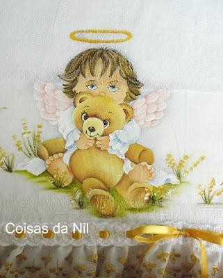 """""""fralda para menina pintada com anjinha e urso"""""""