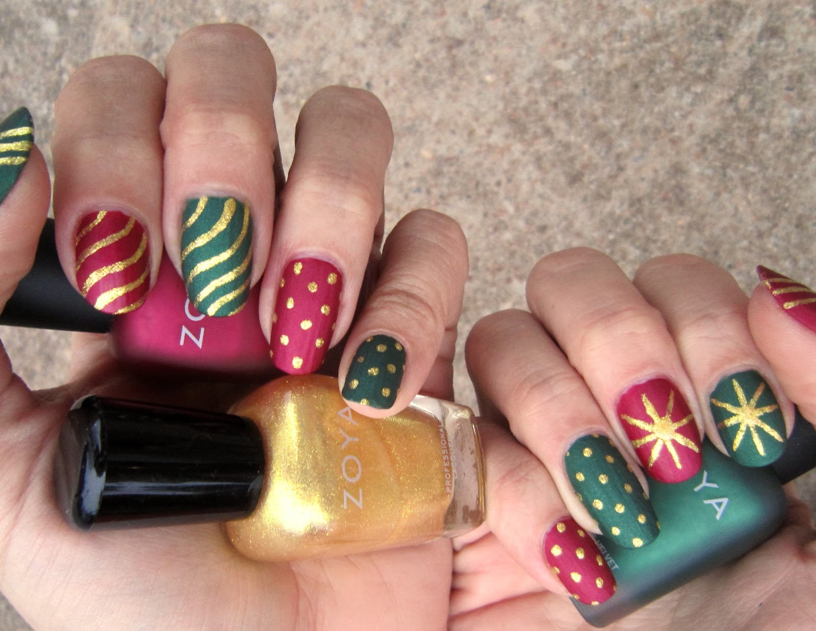 Concrete and Nail Polish: Matte Christmas Nails With Zoya!