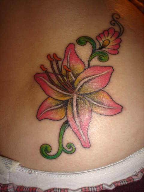 Tiger Lily Tattoo On Side