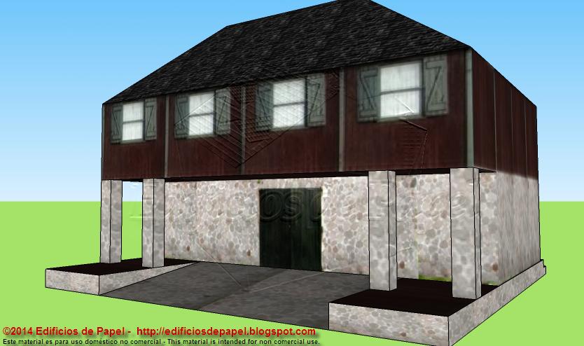 """Barn 1"" paper model"