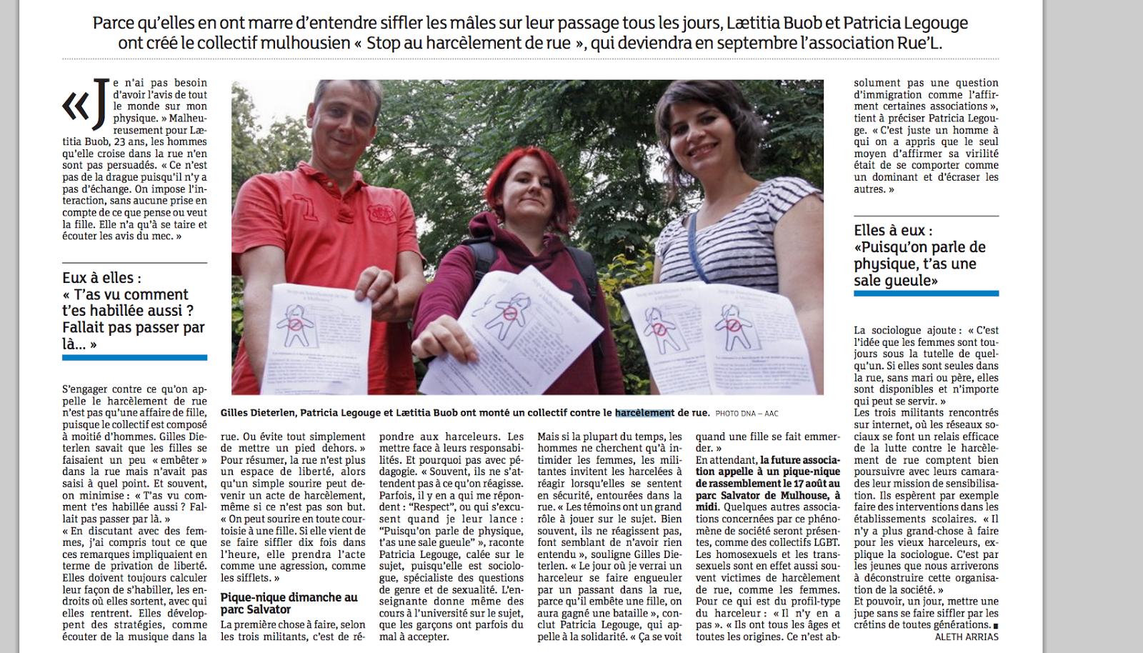 article stop au harcèlement de rue Mulhouse - DNA