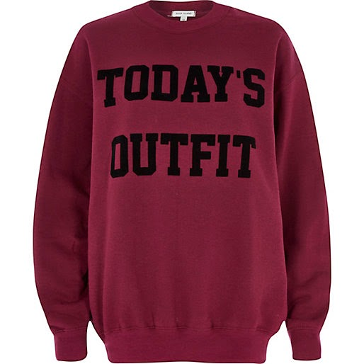 todays outfit sweater, river island slogan jumper,