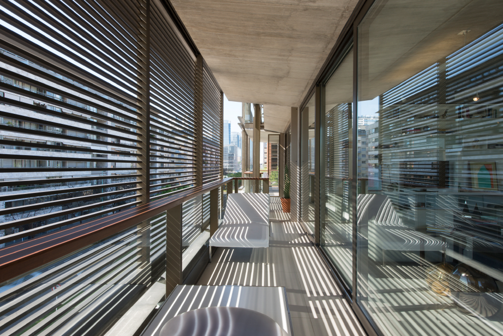 Shaded Balcony Of The Aleph Photo: Nigel Young/ Foster + Partners