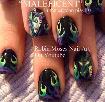 Nail Art By Robin Moses Maleficent Nails Maleficent Nail Art