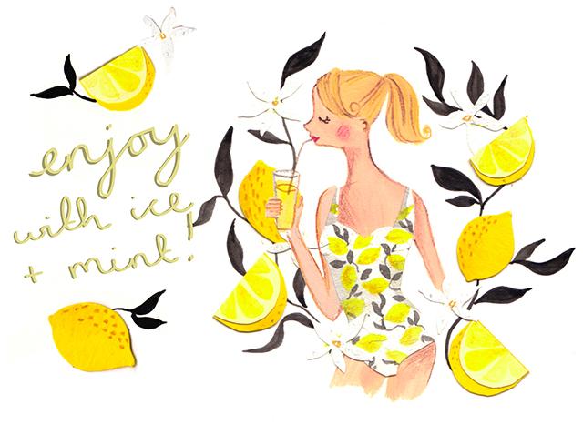 girl drinking lemonade illustration by emma block