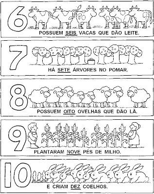 Atividades com Numerais - de seis até dez