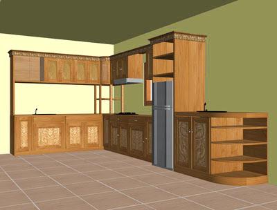 contoh desain lemari gantung dapur modern gambar rumah