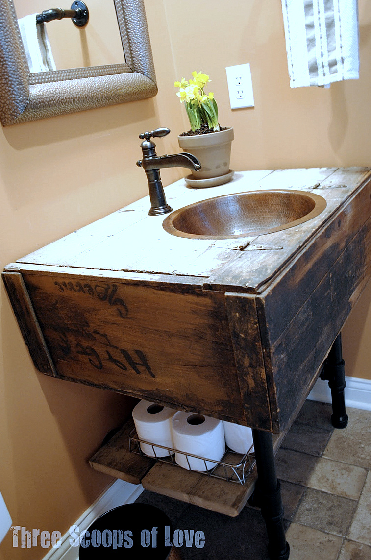 Sat nite special 130 link party repurposed furniture for Diy bathroom sink cabinet