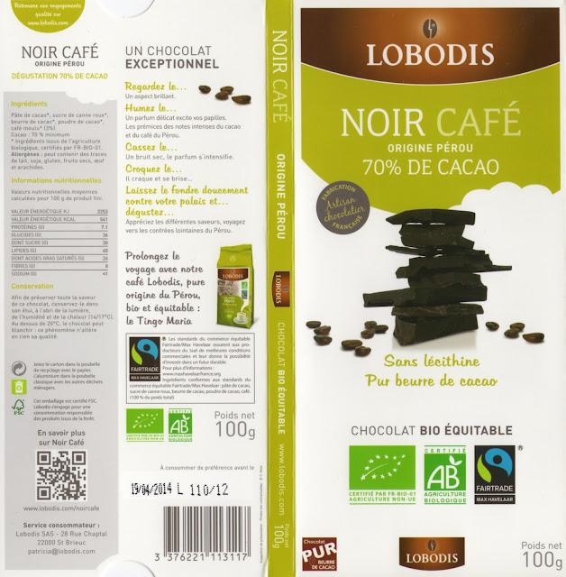 tablette de chocolat noir gourmand lobodis noir café 70