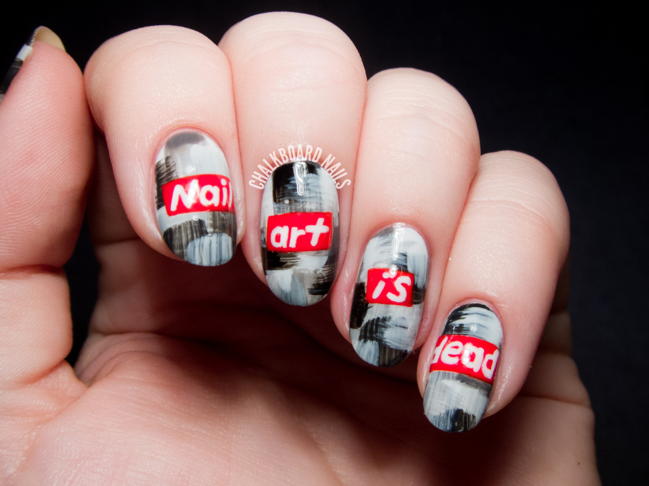 Barbara Kruger inspired nail art by @chalkboardnails