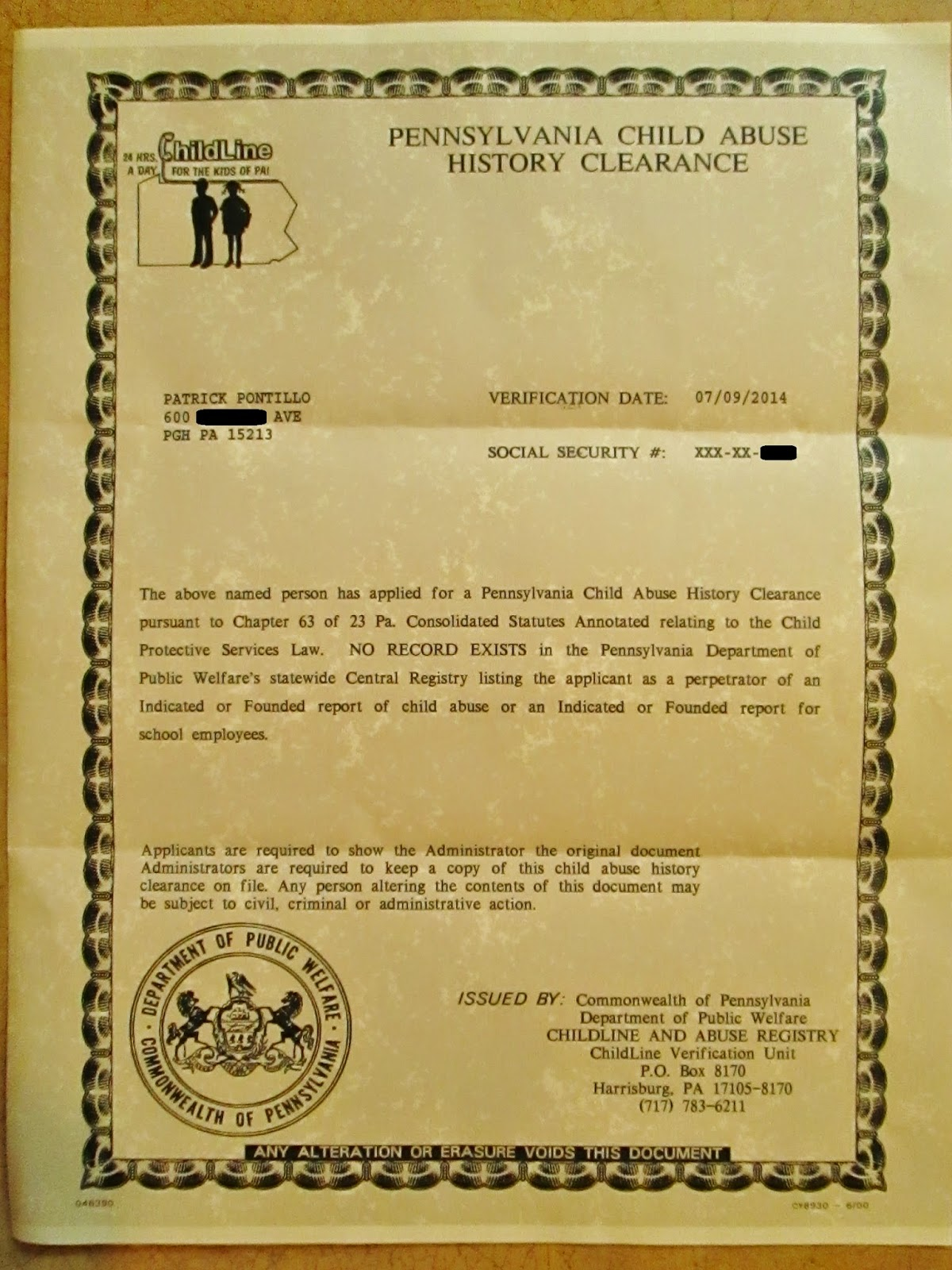 The Blue Marble Album: Three Security Clearance Certificates ...