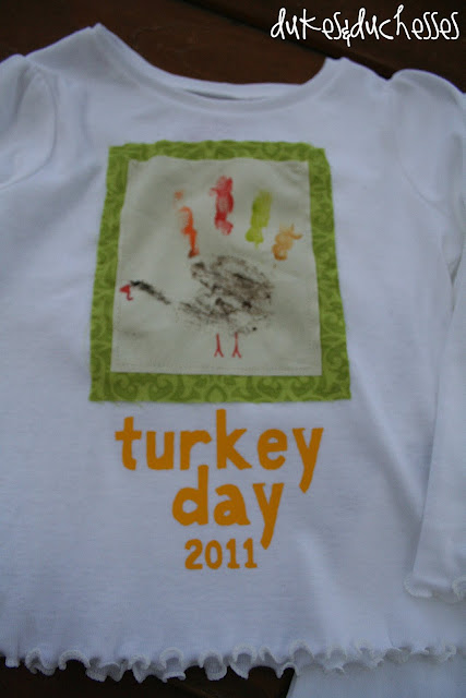 DIY Turkey Hand print Thanksgiving T Shirt {Dukes and Duchesses} @SettingforFour