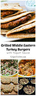 Grilled Middle Eastern Turkey Burgers Recipe with Yogurt Sauce [from KalynsKitchen.com]