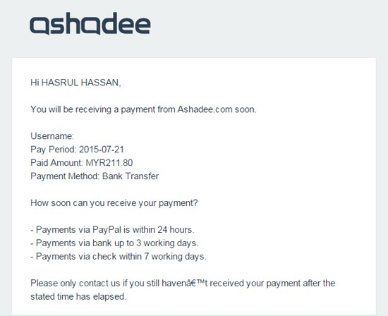 Pembayaran Komisen Affiliate ke 16 Ashadee