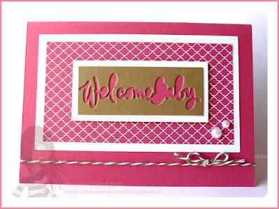 Stampin' Up! Rosa Mädchen Babykarten mit Schriftzug