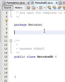 Estructura de la Clase MetodosBD.java