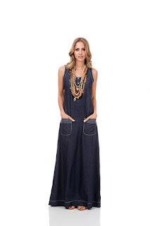 Modelo de vestido jeans longo com bolso - dicas e fotos