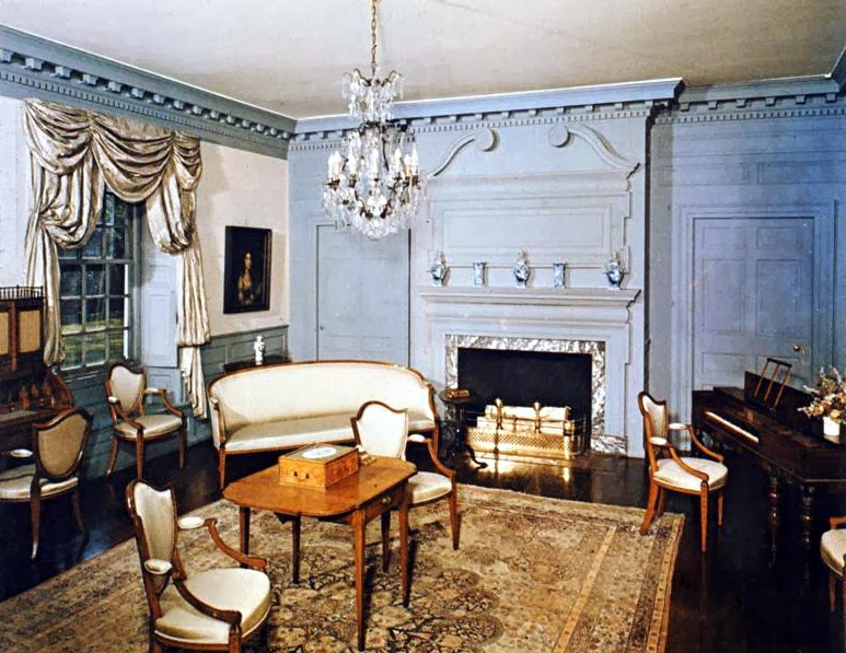 A photograph of a sitting room at the Schuyler Mansion