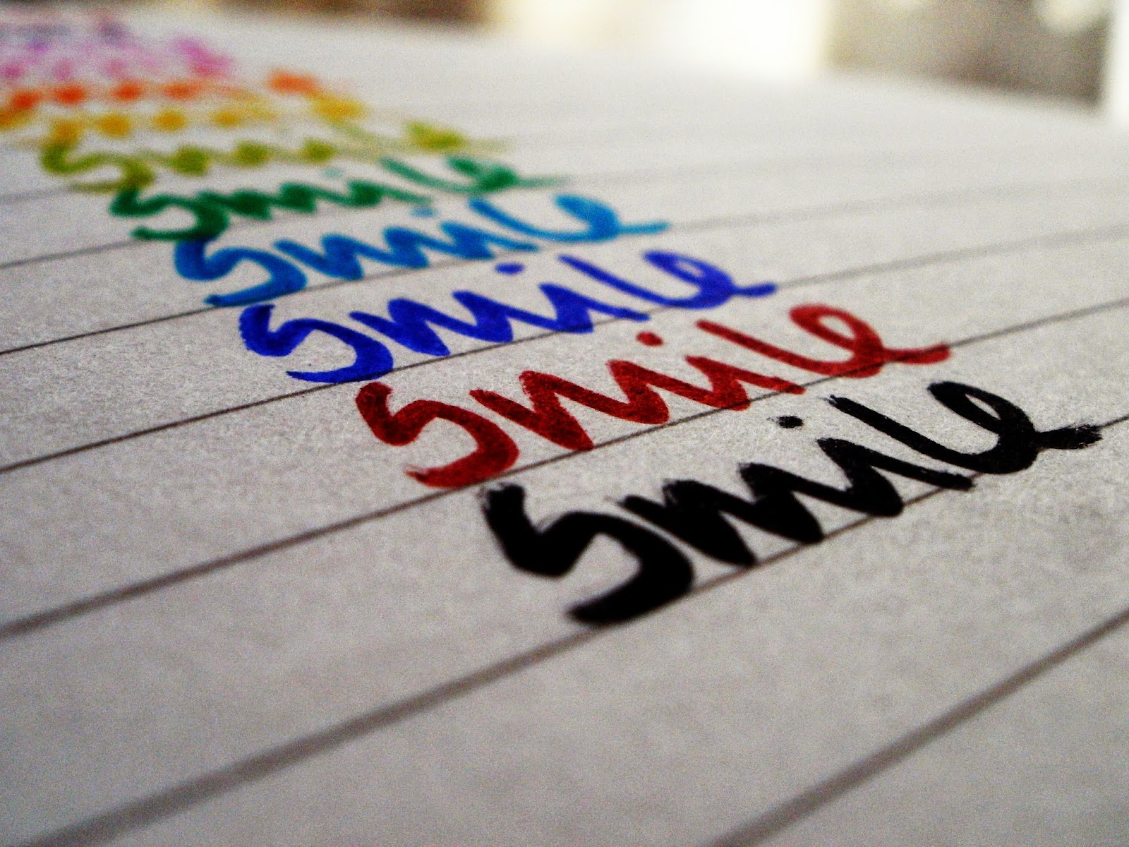 smile, handwriting, colour, rainbow