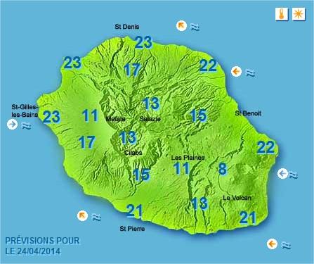 Prévisions météo Réunion pour le Jeudi 24/04/14