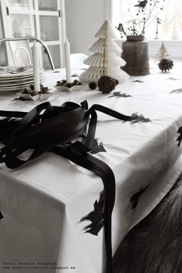 diy duk, göra eget julpynt, juldukning, 2014, inspiration, svart och vitt, pappersgran, pappersgranar, vit gran, vitt, svart, pompom gran