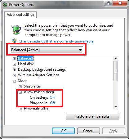 windows 7 how to change hibernate folder