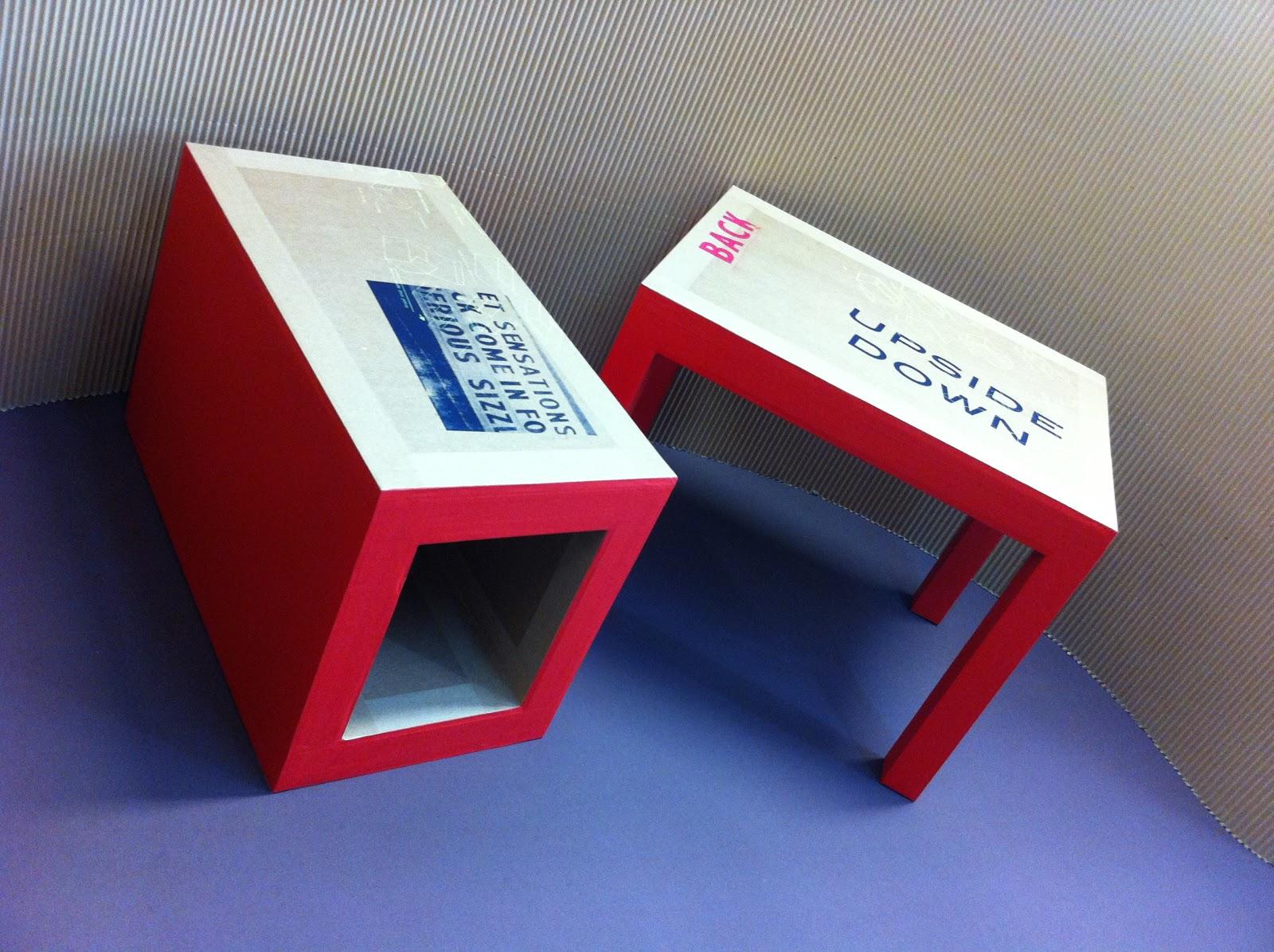 table basse en carton. table gigogne en 3 parties. table basse design en carton rouge et impression sérigraphie fabriquée à marseille par juliadesign