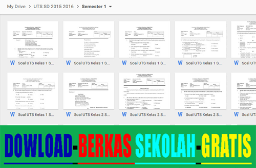 Kumpulan Berkas Sekolah - Contoh Soal UTS SD Kelas 1 2 3 4 5 6 Semester 1