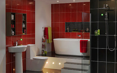 dashing red and white contemporary bathroom with striking layout