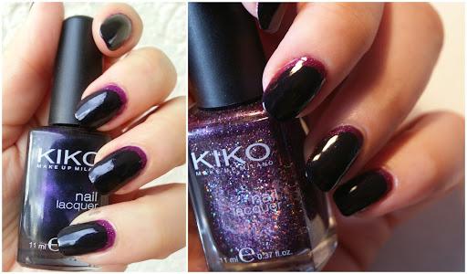 Ruffian Manicure with Kiko Black Violet and Kiko Microglitter