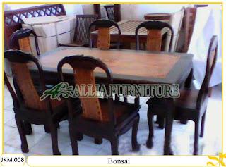 Meja dan Kursi Makan Ukiran Kayu Jati Bonsai