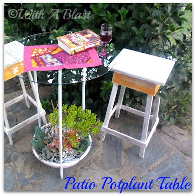 patio table, unusual patio table, potplant and table in one,