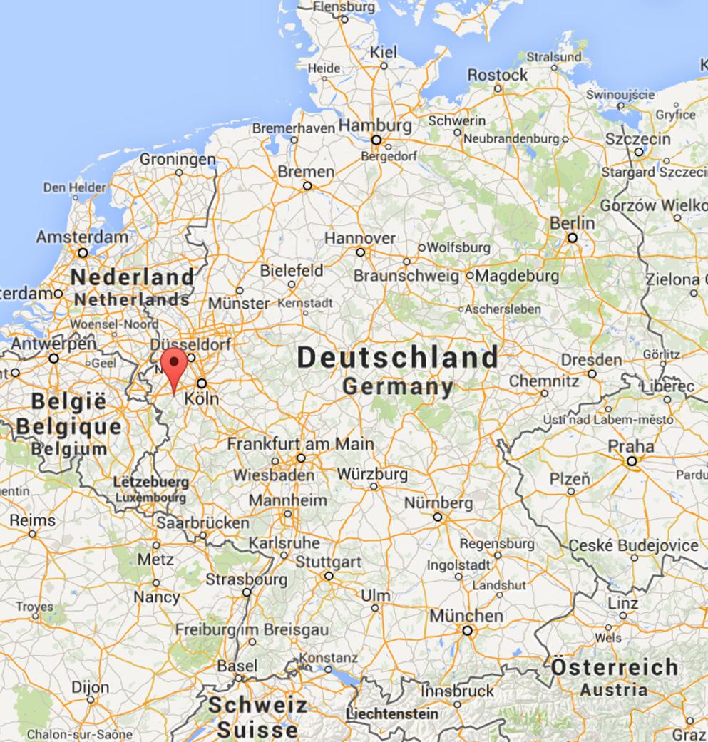 mapa da Alemanha, com um sinal a marcar a cidade de Duren