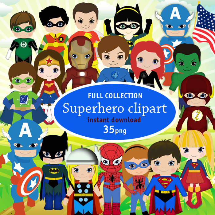 free printable invitation: All superheroes vector clipart special ...