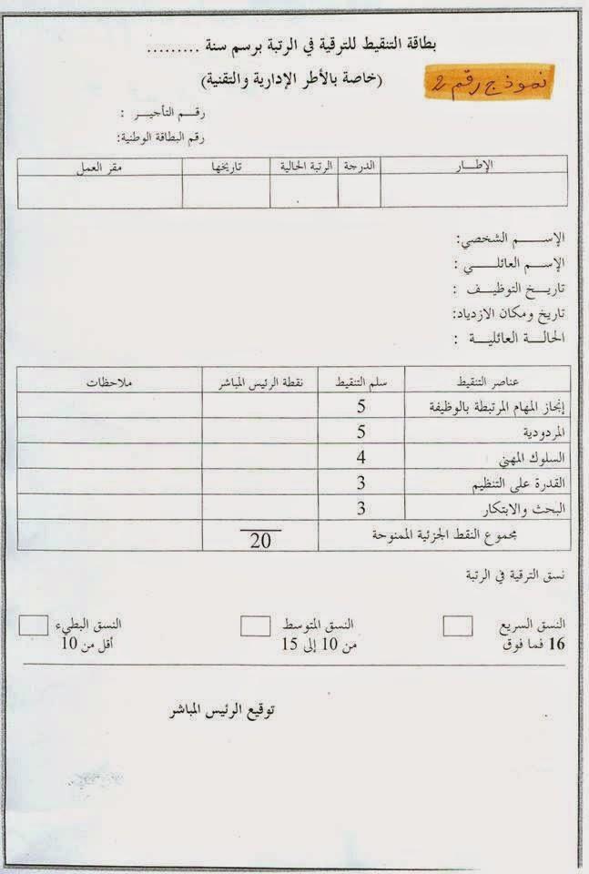 نيابة قلعة السراغنة: مذكرة الترقية في الرتبة لسنة 2014