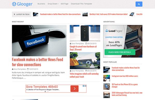 Gloogler Blogger template Responsive