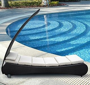 Modern Outdoor Chaise Lounge with Canopy