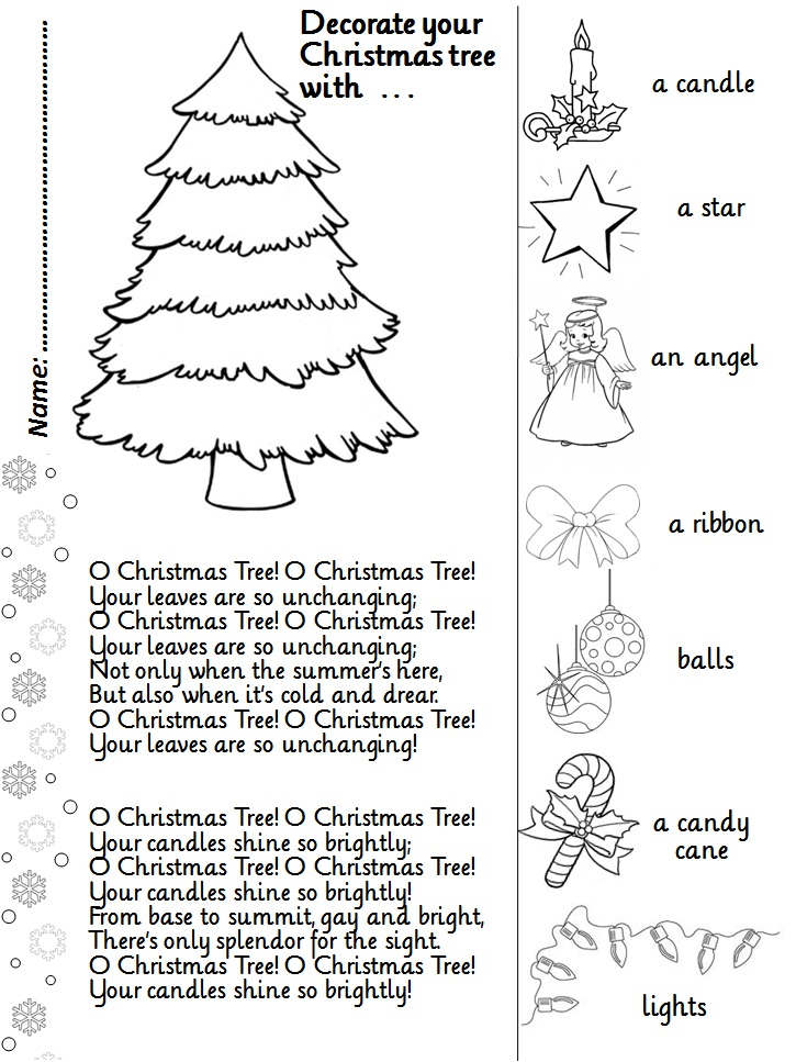 Enjoy Teaching English O CHRISTMAS TREE song activity sheet