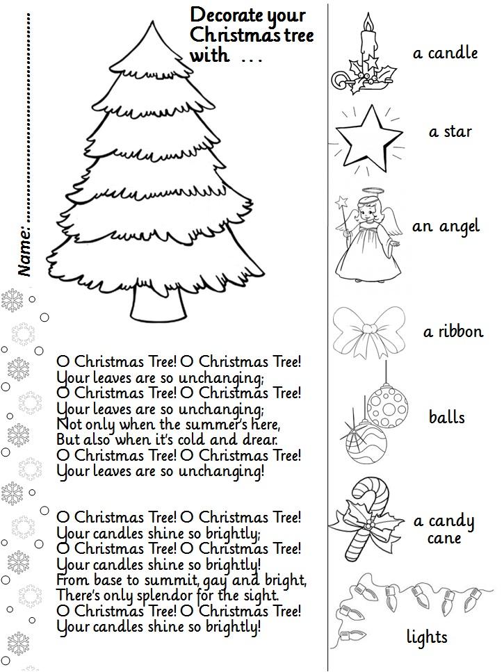 Charming The Christmas Tree Song Part - 11: O CHRISTMAS TREE (song + Activity Sheet)