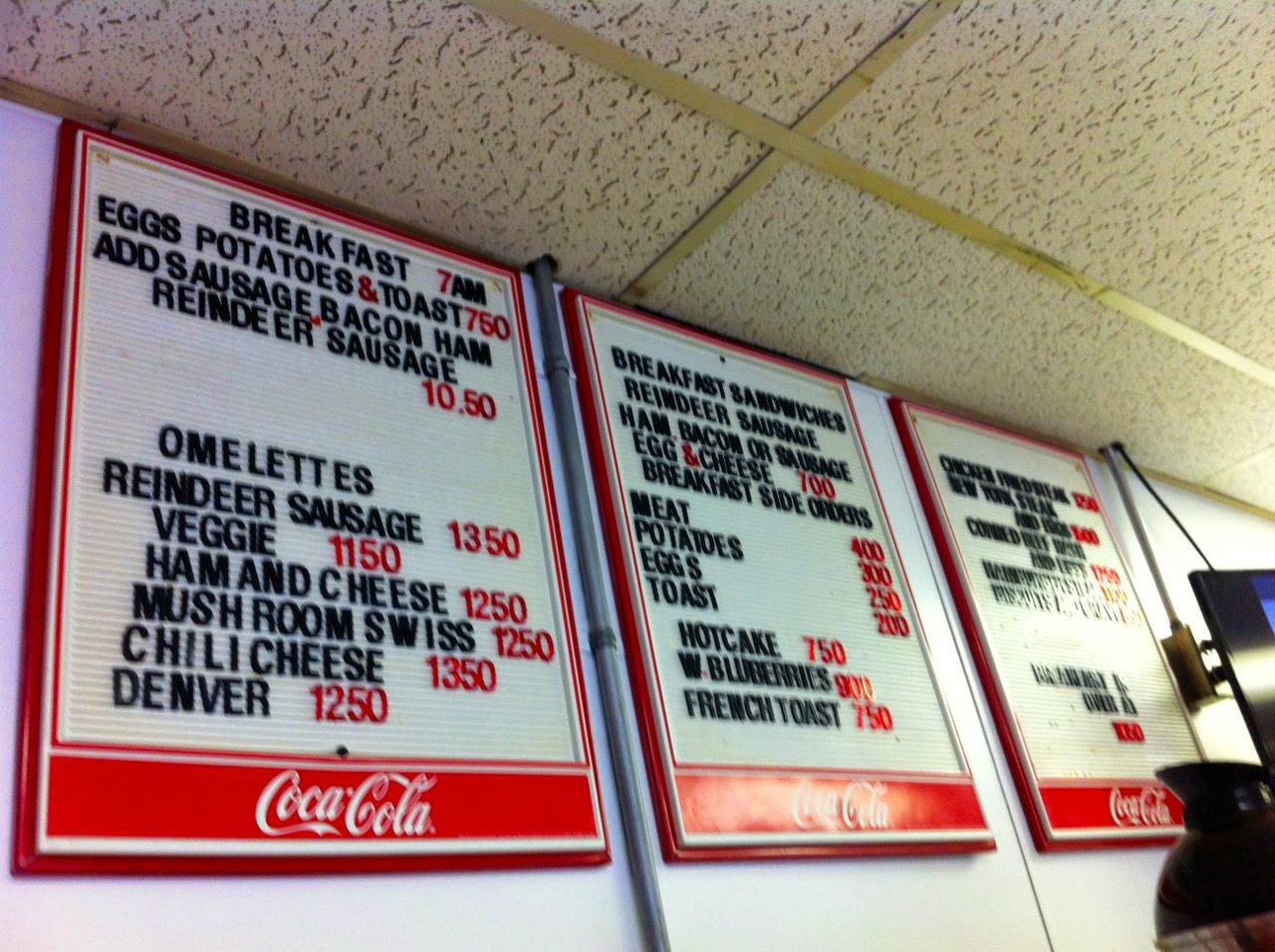White Spot cafe menu, in Anchorage, Alaska