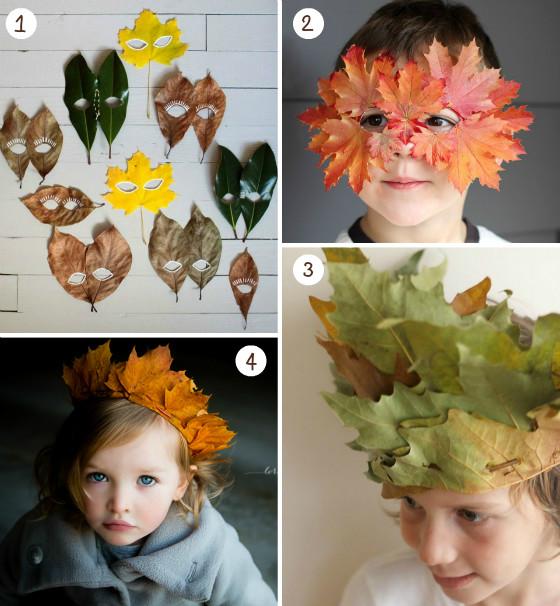 otoño_fiestas_foto_imagen_mesa_hojas_secas_corona_mascara_niños_disfraz