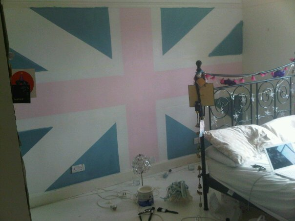 The union jack design union jack pink bedroom design process for Union jack bedroom ideas