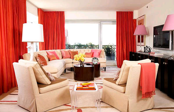 Modern Architecture: Red and cream living room 2012
