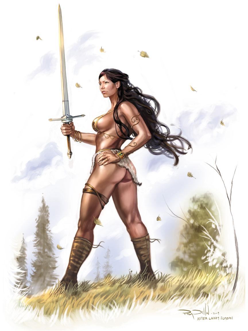 Рисованные девушки воительницы голые105